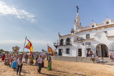pilgrim costume: El ROCIO, ANDALUCIA, SPAIN - MAY 22: Romeria after visiting the Sanctuary goes to village.  2015  It is one of the most famous pilgrimage of Spain. This pilgrimage passes from the 15th century.