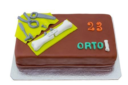 sugar paste: Birthday cake with sugar paste. On birthday. For orthopedics a medic.
