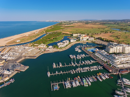 vilamoura: Aerial view of Vilamoura marina. Algarve Portugal. Stock Photo
