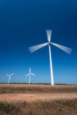 generating station: Wind Generating Station, in the movement against the sky. Portugal. Stock Photo