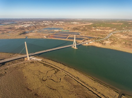 Aerial. Bridge over the Guadiana River in Ayamonte. Portugal