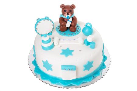 Creative cake for a newborn boy. With a bear. Stock Photo