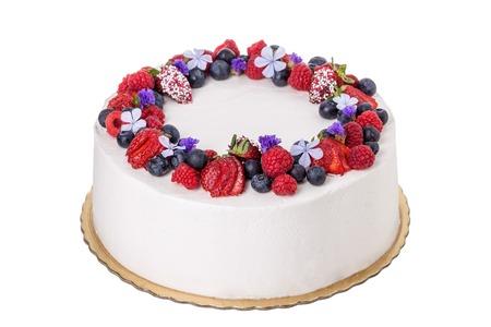 Fruit cream cake. Stock Photo