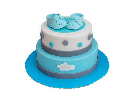 Cake for the newborn boy. Of blue color.