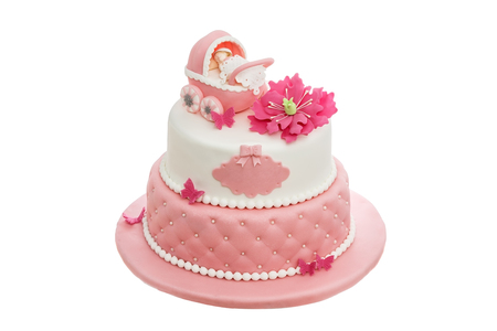 An amazing cake for baptism for a newborn girl. On white background.