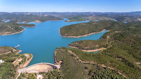 Aerial. Photo from the sky, the dams filled with water Odiaxere. Imagens