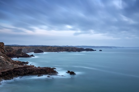 Dramatic landscape of the sea before storm in Sagres Portugal
