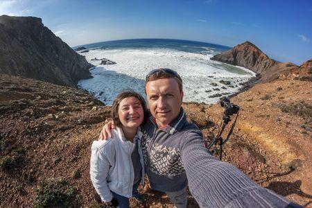 Self-portrait happy couple on the coast Sagres, Costa Vicentina Stock Photo