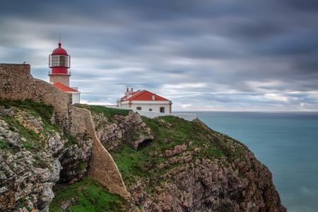 Lighthouse before storm Cabo Sao Vicente. Portugal algarve