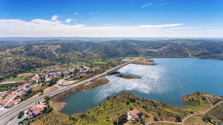 hydroelectric station: Aerial. Videography of drone, reservoir dam Odeleite. Portugal