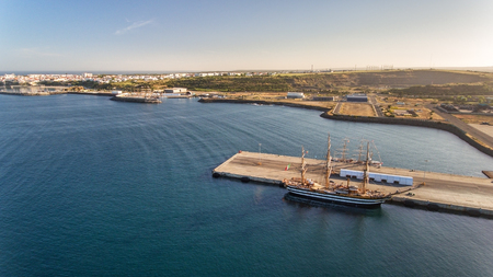 Aerial. Portuguese sea port Sinis with sailboats in regatta. Photographing from the drone. Stock Photo