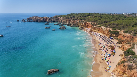 Aerial. Tourist beaches of the Portuguese city of Portimao. Shooted by drones