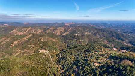 Aerial. Forests and the landscape of ecological zone Monchique. From the sky by drones.