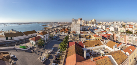 View from the sky street of a railway station in the city of Faro.