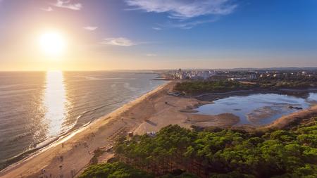 Landscape from the sky of the beaches of the Algarve Quarteira Vilamoura. Foto de archivo - 110717703
