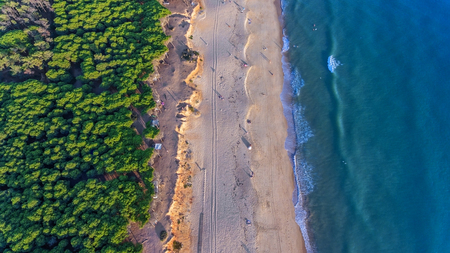 Landscape from the sky of the beaches of the Algarve Quarteira Vilamoura.