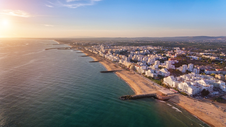 Landscape from the sky of the beaches of the Algarve Quarteira Vilamoura. Foto de archivo - 110717650