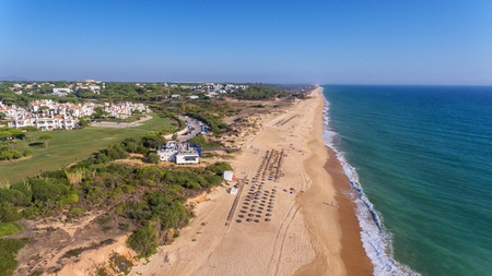 Aerial. View from the sky at the golf courses in the tourist town Vale de Lobo. Vilamoura. Foto de archivo - 114177116
