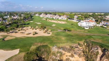 View from the sky at the golf courses in the tourist town Vale de Lobo. Vilamoura.