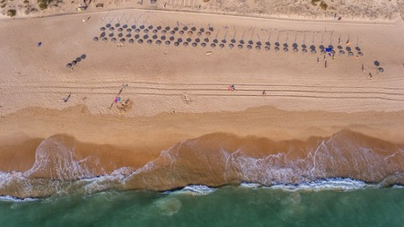 View from the sky to the Portuguese beach in the Algarve, Vale de Lobo