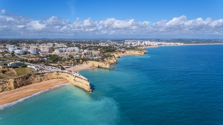 Beautiful Portuguese beaches Armacao de Pera, view from the sky.