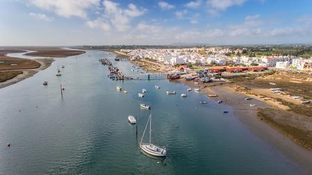 View from the sky at the village Santa Luzia, Tavira, Portugal.