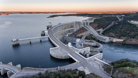 View from the sky of the dam on the river Guadiana.