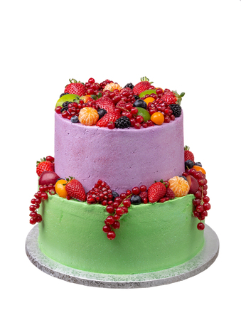Two-story fruit cake for birthday and holiday.