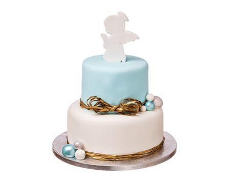 Stylish bunk cake for baptism with the angel.
