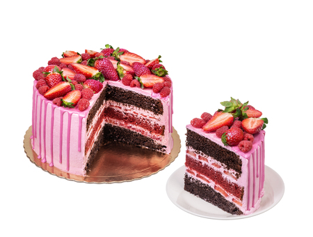 Fruit pink cake, for a birthday, from strawberry. 版權商用圖片