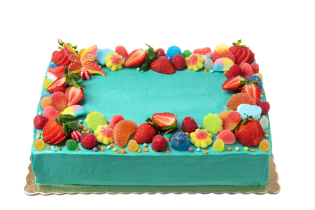Beautiful, square, blue, fruit cake for the holiday.