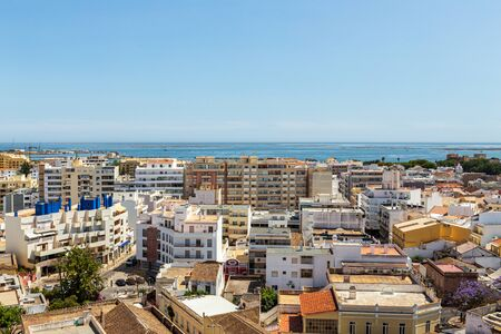 Aerial. The southern city of Portugal Faro view from the top. 写真素材