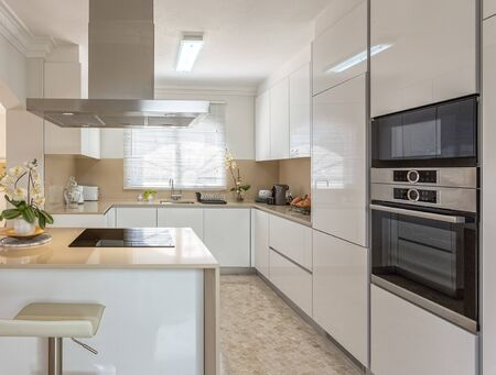 Modern kitchen with electric stove and appliances for use.