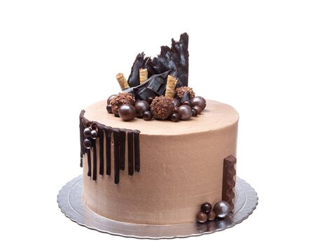 Delicious abstract chocolate cake for the holiday. Imagens