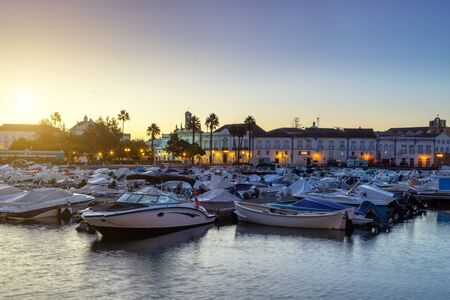 Sunrise in the harbor of the town of Faro. Portugal.