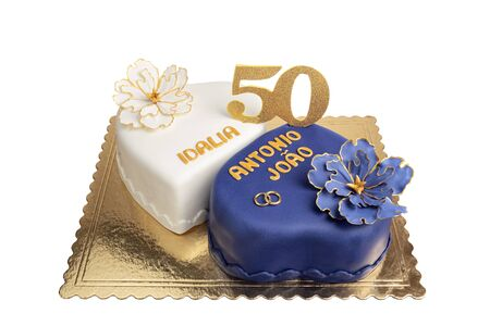 Cake for the wedding anniversary of the fiftieth. Imagens