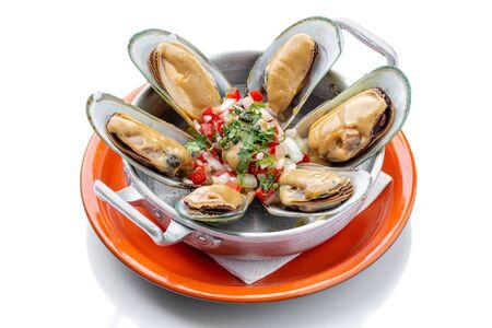 Shellfish exotic food, oyster shellfish in a Portuguese restaurant.