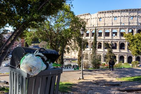 Accumulation of garbage in a park near the Coliseum.
