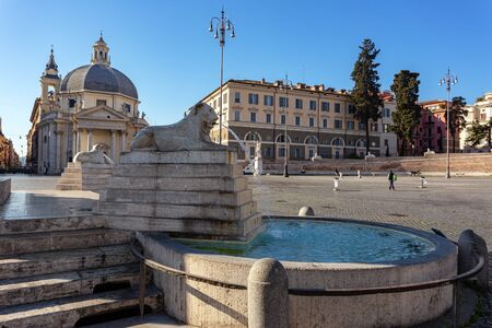 Italian square Popolo in the city center of Rome. Fountain with water.