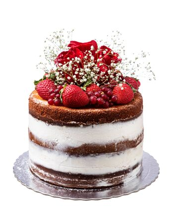 Naked fruit cake with flowers and roses.