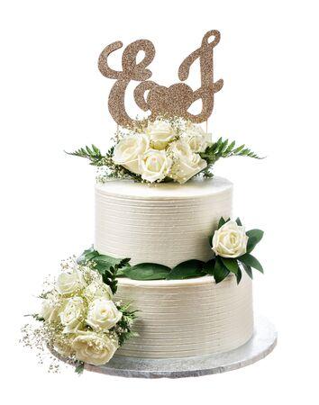Elegant wedding cream cake, on a white Imagens
