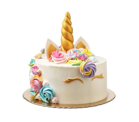 Unicorn cake for a child with marshmallows on a white Imagens