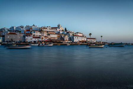After sunset, the village of Ferragudo. Portugal Portimao.