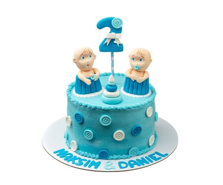 Creative cake for twin boys, with sugar paste dolls
