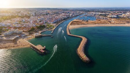 Aerial. View from the sky entrance to Marina Lagos. Portugal Algarve.