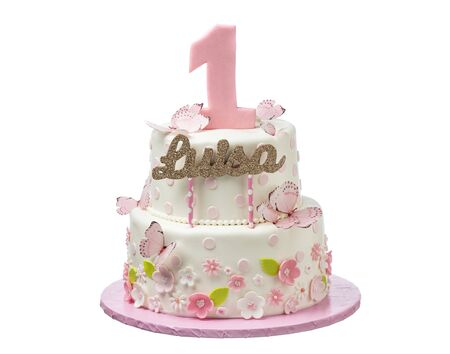 Delicate birthday cake with butterflies and flowers named Louise. Imagens