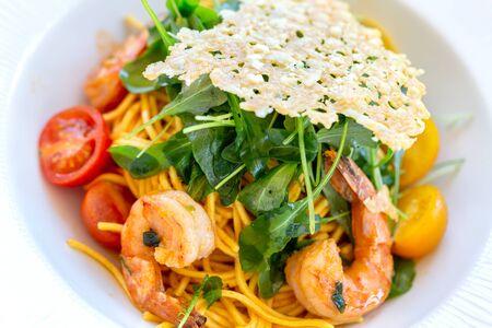 Vegetarian Tagliolini with Shrimp Rucula. Close up.