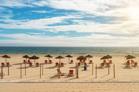 Wonderful European beaches for tourists on vacation. Portugal Spain.