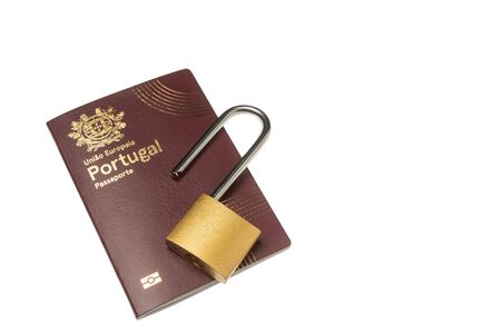 European Portuguese foreign passport with a lock, a ban on entry and exit.
