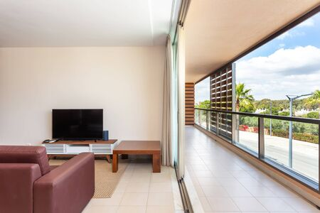 Lovely living room, relaxing, furnished, with a terrace and views of the nature.